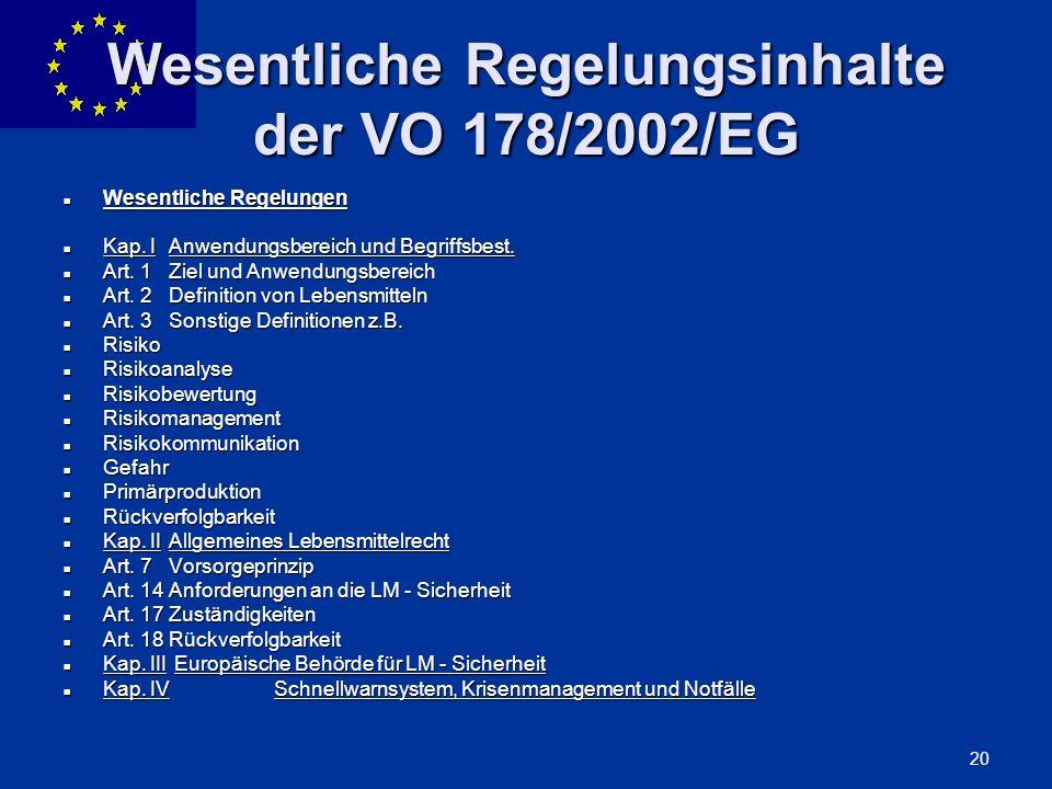 Wesentliche Regelungsinhalte der VO 178/2002/EG