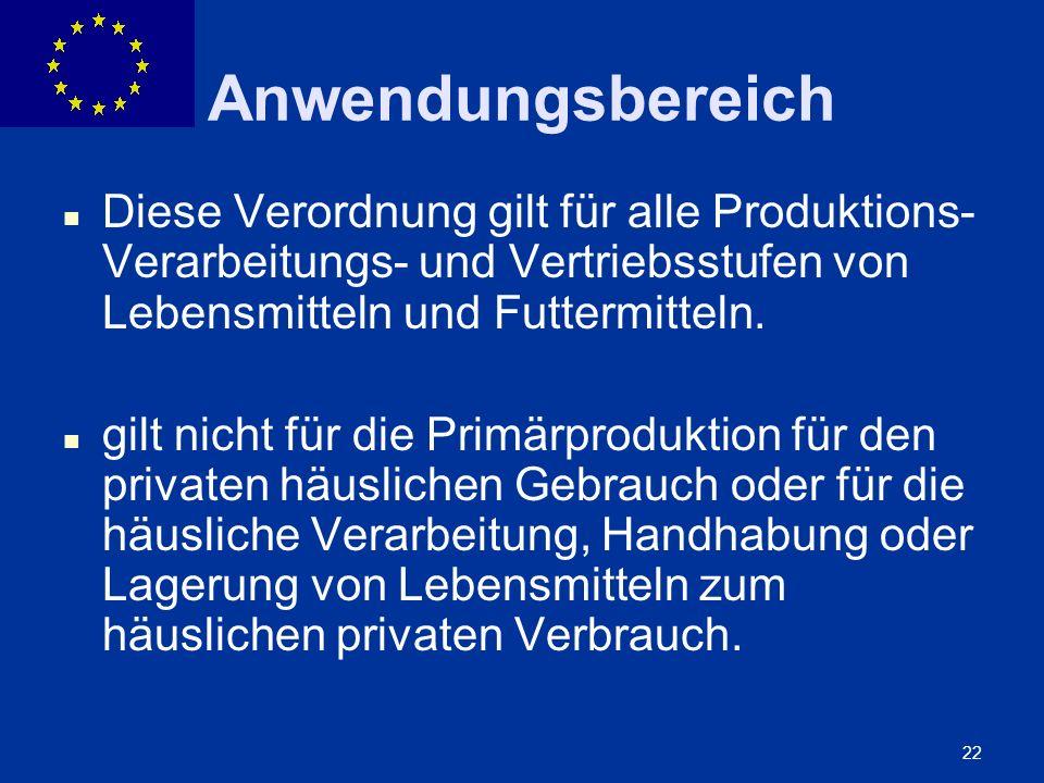 Anwendungsbereich Diese Verordnung gilt für alle Produktions- Verarbeitungs- und Vertriebsstufen von Lebensmitteln und Futtermitteln.