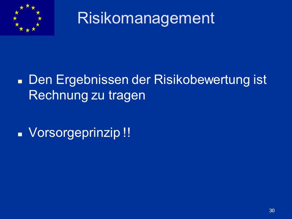 Risikomanagement Den Ergebnissen der Risikobewertung ist Rechnung zu tragen Vorsorgeprinzip !!