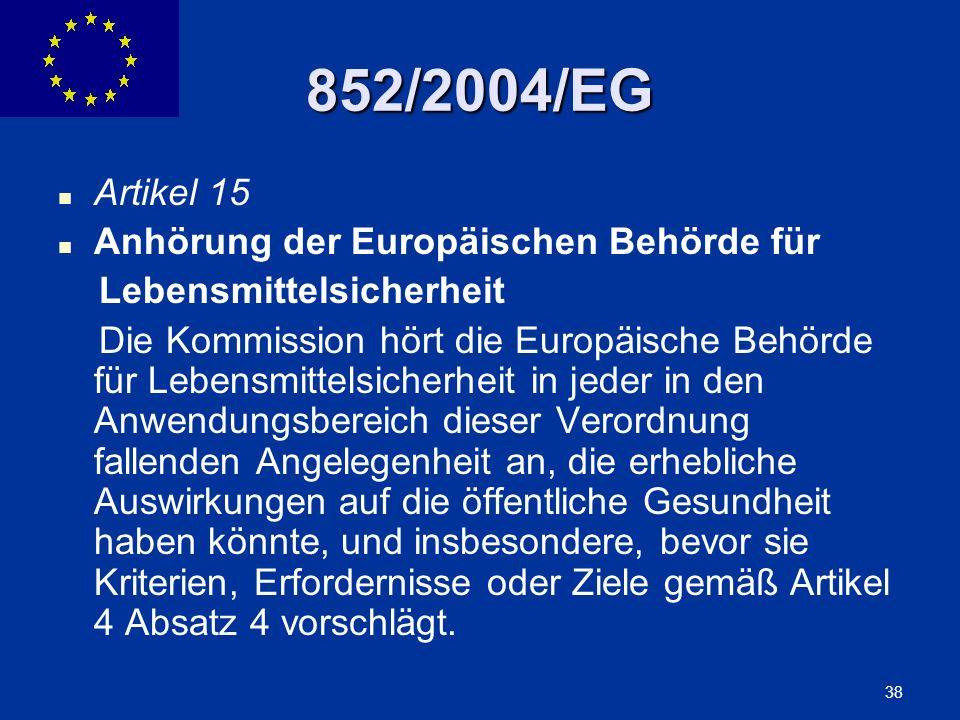 852/2004/EG Artikel 15 Anhörung der Europäischen Behörde für
