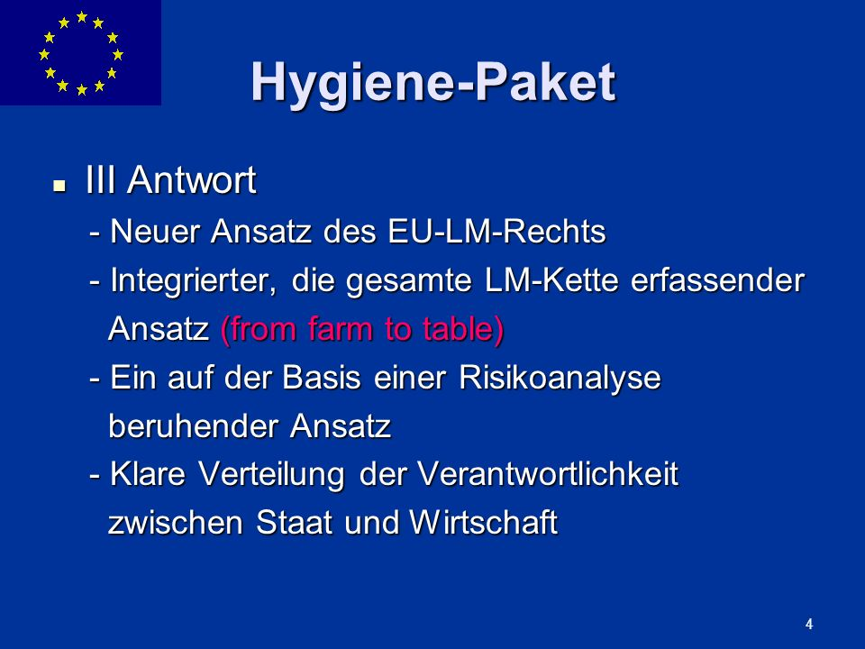 Hygiene-Paket III Antwort - Neuer Ansatz des EU-LM-Rechts