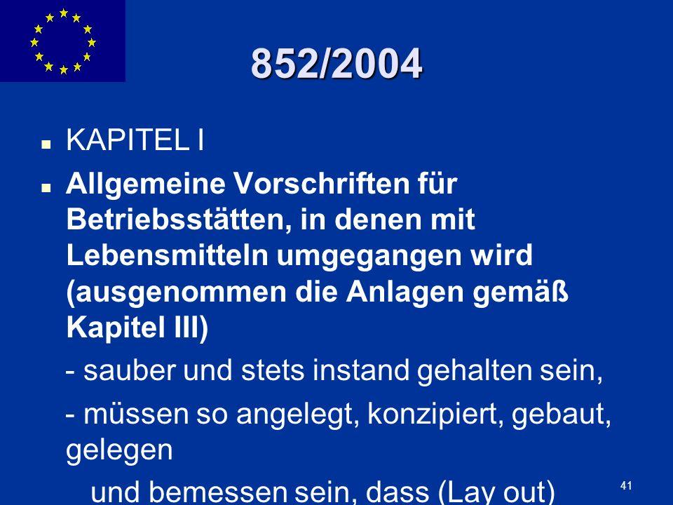 852/2004 KAPITEL I.