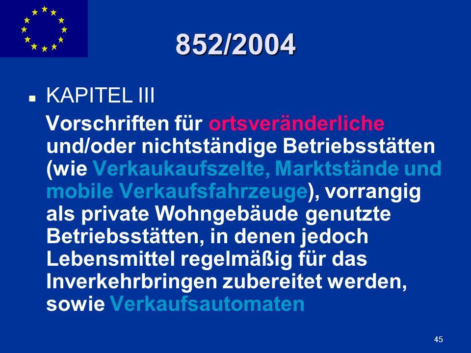 852/2004 KAPITEL III.