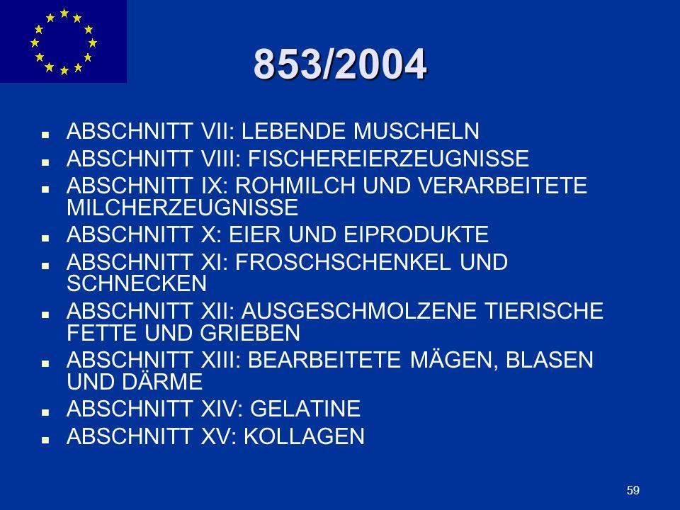 853/2004 ABSCHNITT VII: LEBENDE MUSCHELN