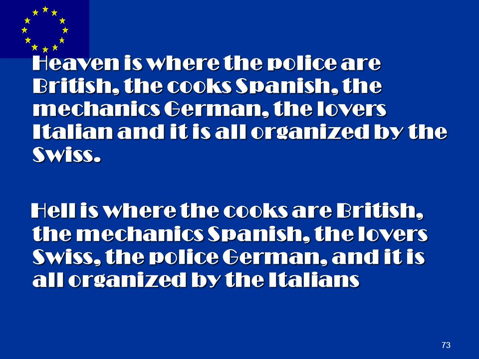 Heaven is where the police are British, the cooks Spanish, the mechanics German, the lovers Italian and it is all organized by the Swiss.