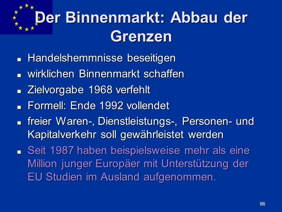Der Binnenmarkt: Abbau der Grenzen