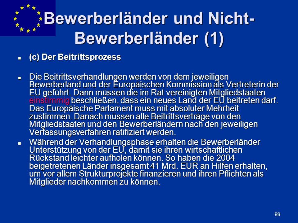 Bewerberländer und Nicht-Bewerberländer (1)