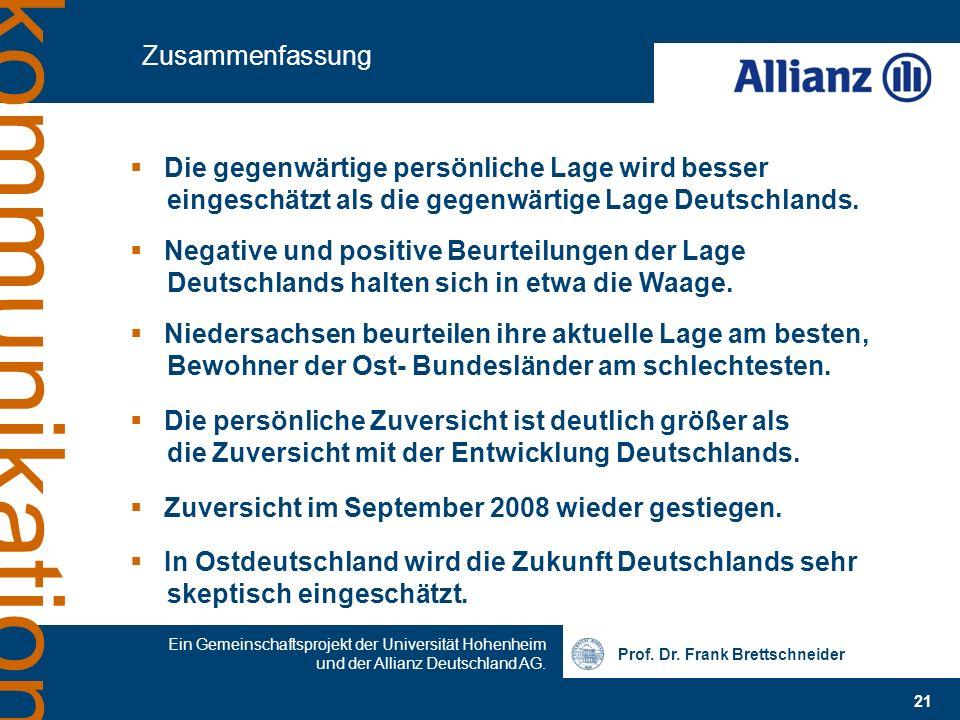 ZusammenfassungDie gegenwärtige persönliche Lage wird besser eingeschätzt als die gegenwärtige Lage Deutschlands.
