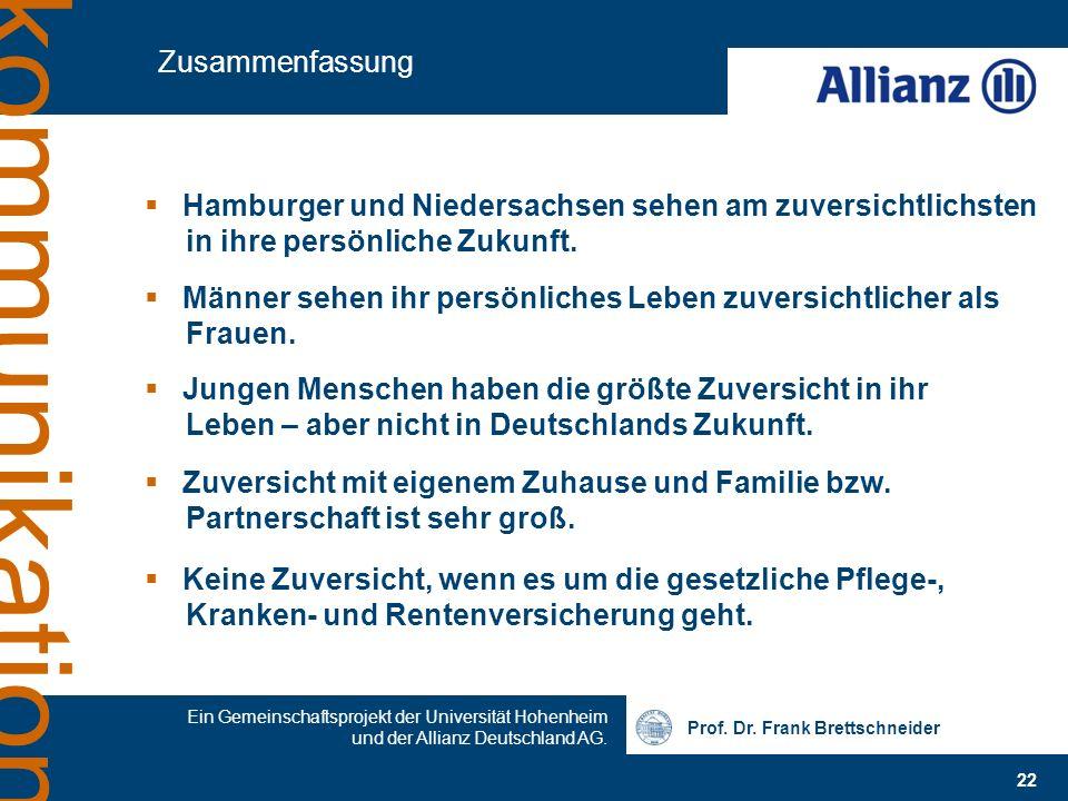 Zusammenfassung Hamburger und Niedersachsen sehen am zuversichtlichsten in ihre persönliche Zukunft.