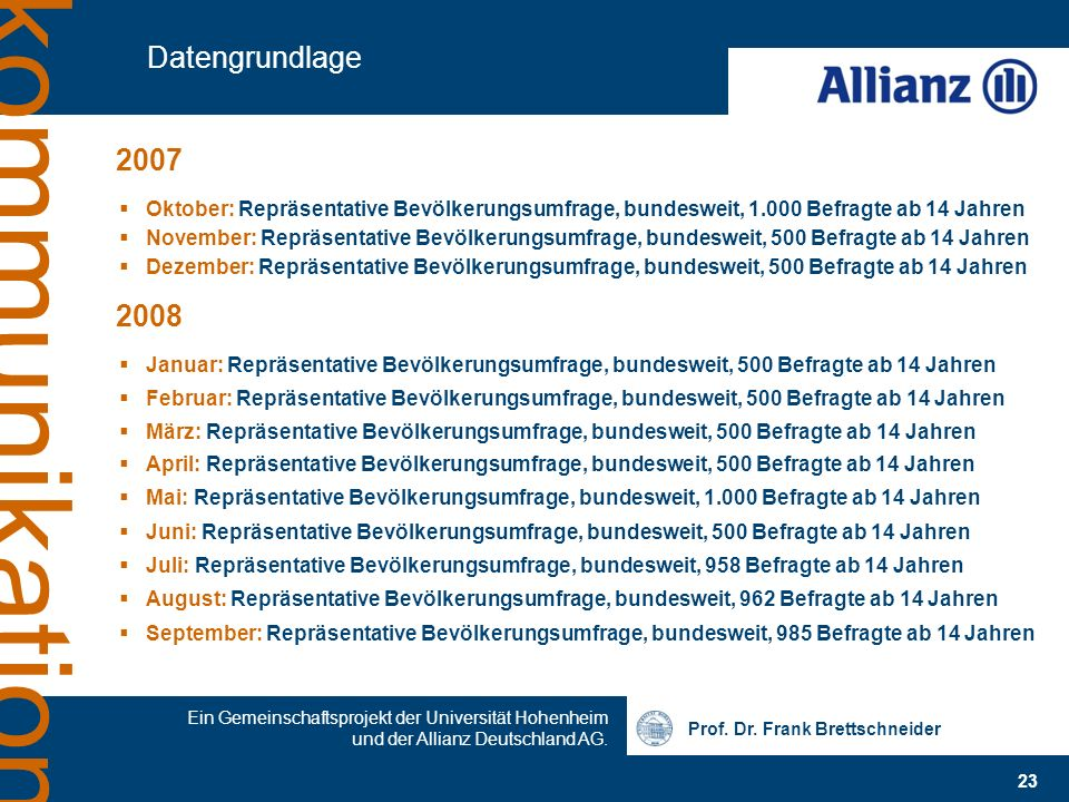 Datengrundlage2007. Oktober: Repräsentative Bevölkerungsumfrage, bundesweit, 1.000 Befragte ab 14 Jahren.