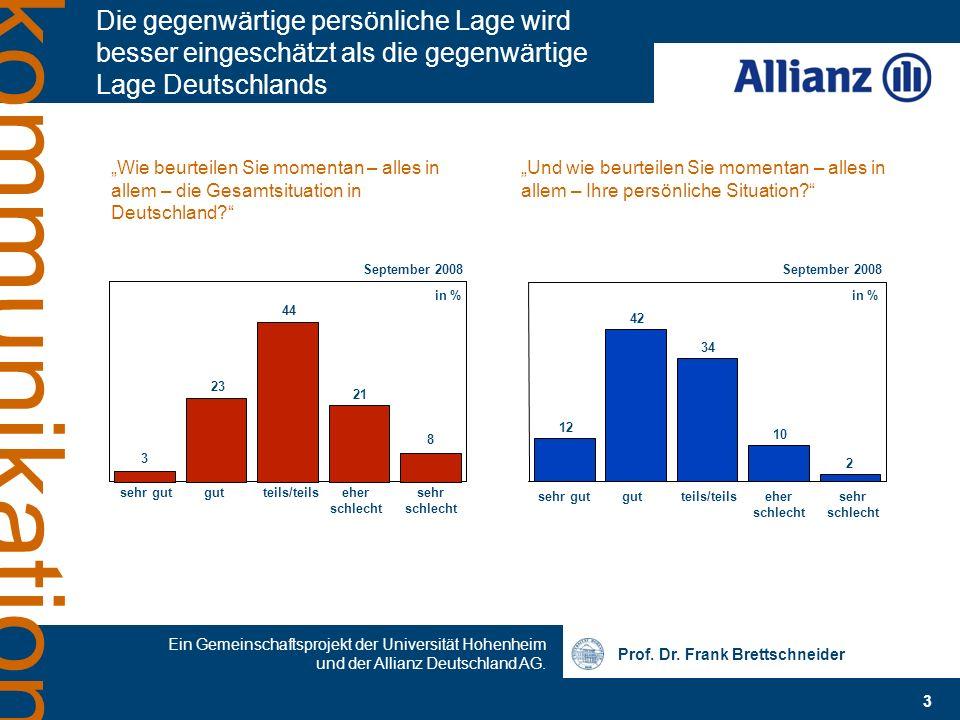 Die gegenwärtige persönliche Lage wird besser eingeschätzt als die gegenwärtige Lage Deutschlands