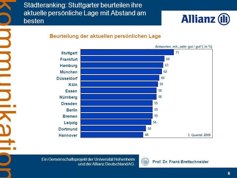 Städteranking: Stuttgarter beurteilen ihre aktuelle persönliche Lage mit Abstand am besten
