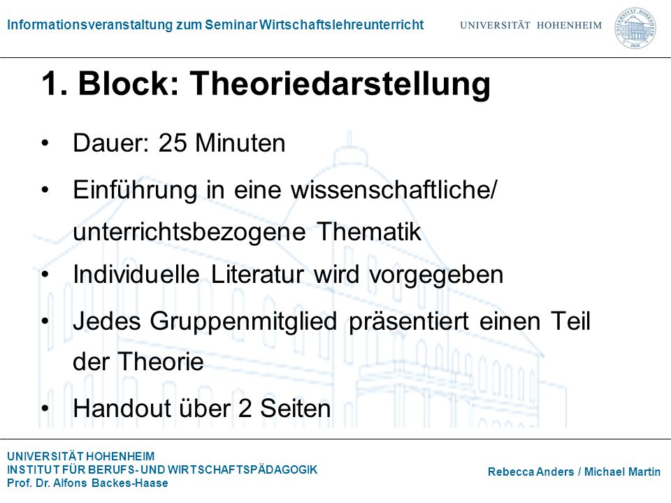 1. Block: Theoriedarstellung
