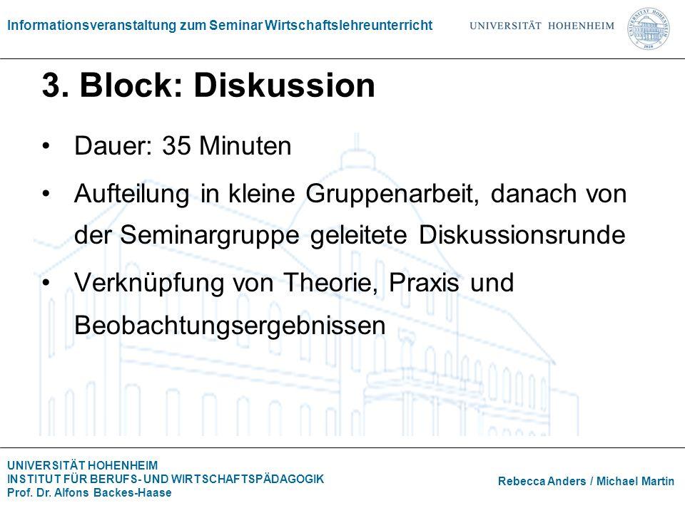 3. Block: Diskussion Dauer: 35 Minuten