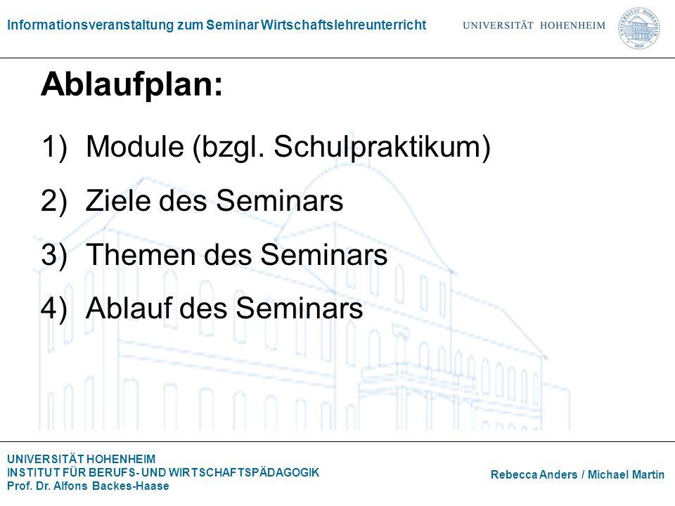 Ablaufplan: Module (bzgl. Schulpraktikum) Ziele des Seminars