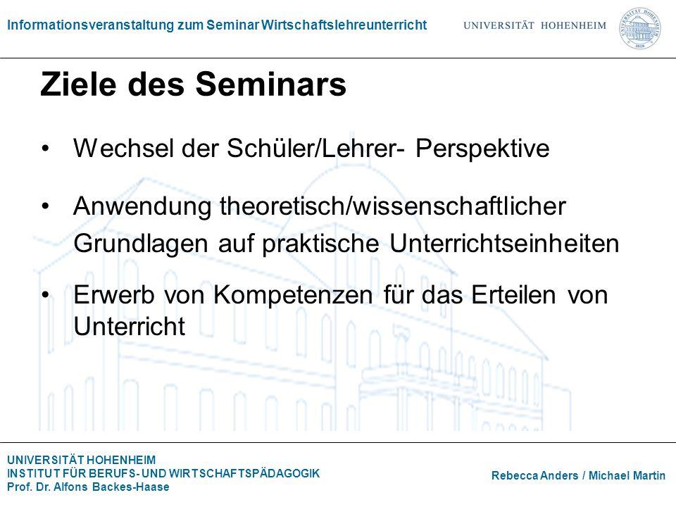 Ziele des Seminars Wechsel der Schüler/Lehrer- Perspektive