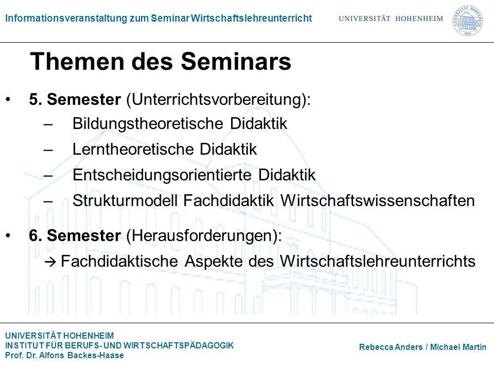 Themen des Seminars 5. Semester (Unterrichtsvorbereitung):
