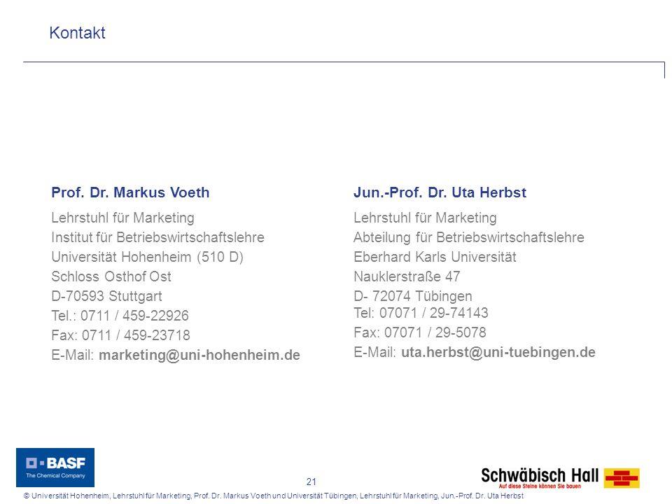 Kontakt Prof. Dr. Markus Voeth Jun.-Prof. Dr. Uta Herbst