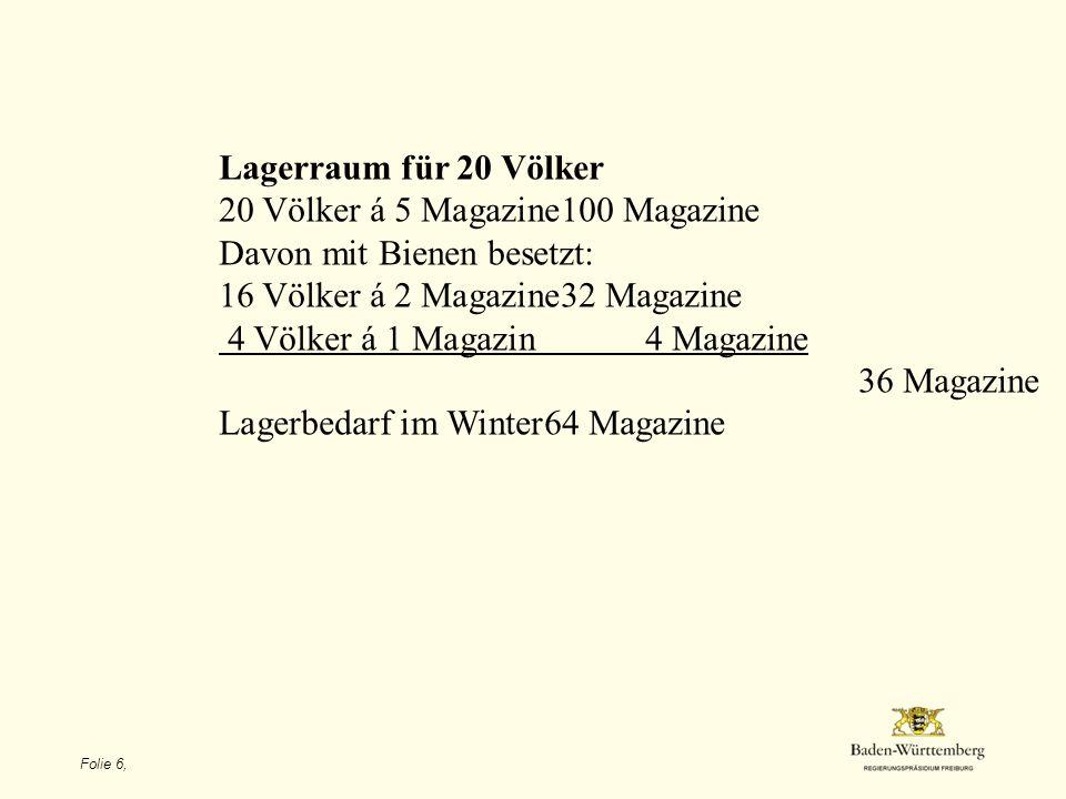 20 Völker á 5 Magazine 100 Magazine Davon mit Bienen besetzt: