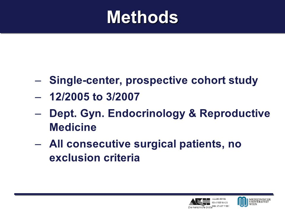 Methods Single-center, prospective cohort study 12/2005 to 3/2007