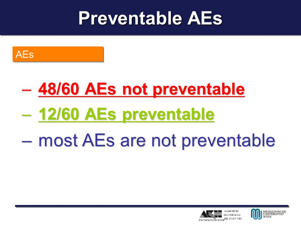 Preventable AEs most AEs are not preventable 48/60 AEs not preventable