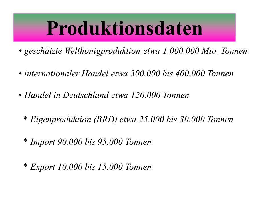 Produktionsdaten geschätzte Welthonigproduktion etwa 1.000.000 Mio. Tonnen. internationaler Handel etwa 300.000 bis 400.000 Tonnen.