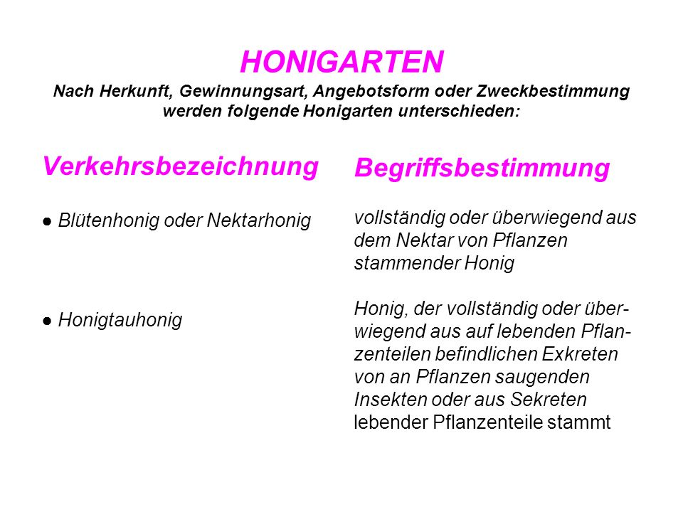 HONIGARTEN Nach Herkunft, Gewinnungsart, Angebotsform oder Zweckbestimmung werden folgende Honigarten unterschieden: