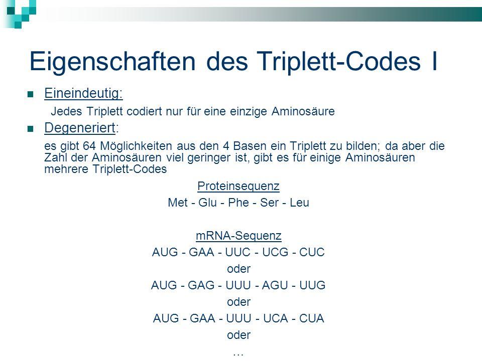 Eigenschaften des Triplett-Codes I