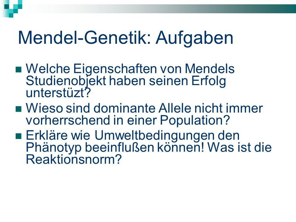 Mendel-Genetik: Aufgaben