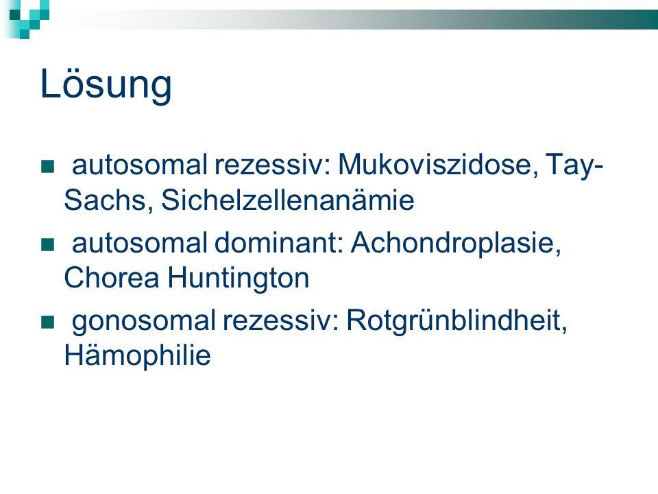 Lösung autosomal rezessiv: Mukoviszidose, Tay- Sachs, Sichelzellenanämie. autosomal dominant: Achondroplasie, Chorea Huntington.