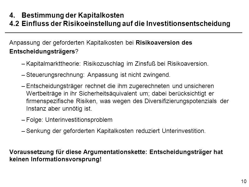 4. Bestimmung der Kapitalkosten 4. 2