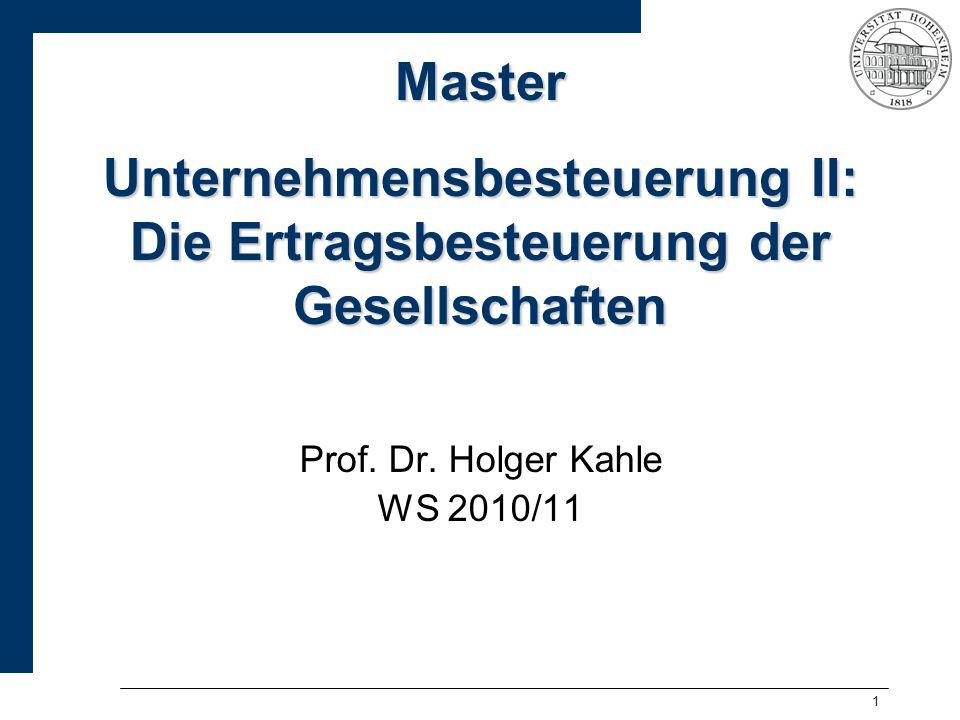 Master Unternehmensbesteuerung II: Die Ertragsbesteuerung der Gesellschaften