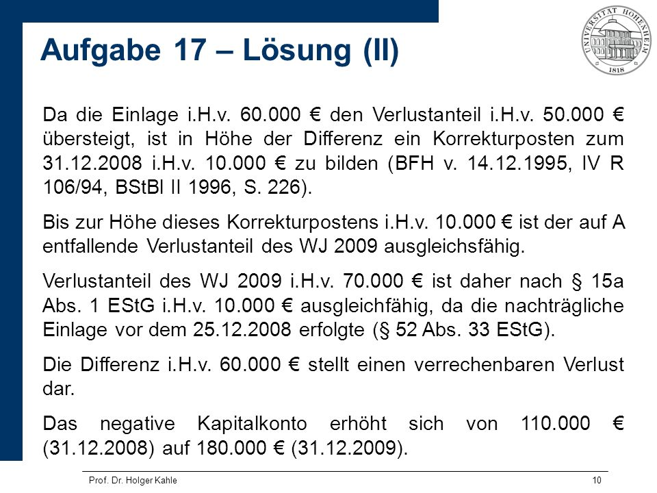 Da die Einlage i. H. v. 60. 000 € den Verlustanteil i. H. v. 50