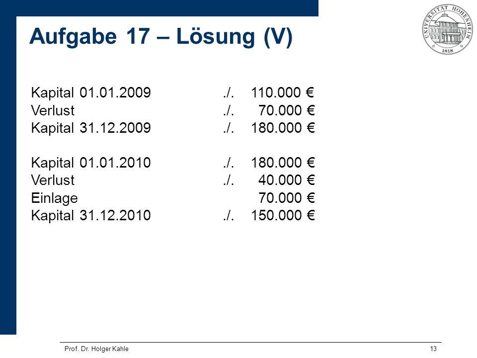 Aufgabe 17 – Lösung (V) Kapital 01.01.2009 ./. 110.000 €