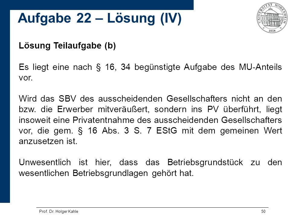 Aufgabe 22 – Lösung (IV) Lösung Teilaufgabe (b)