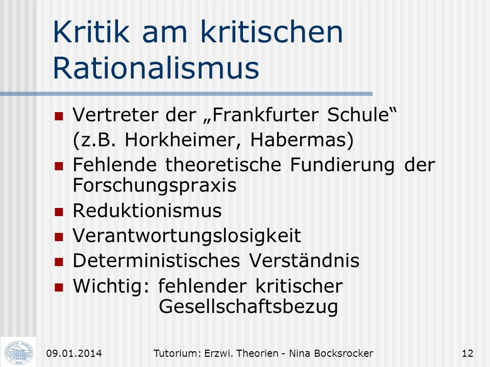 Kritik am kritischen Rationalismus