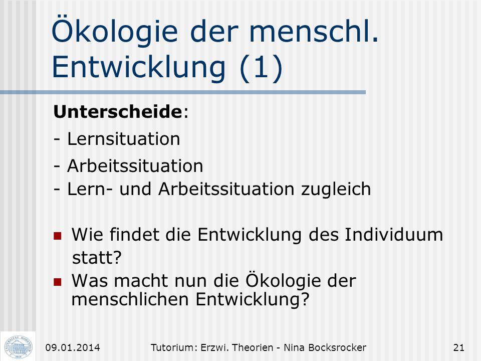 Ökologie der menschl. Entwicklung (1)