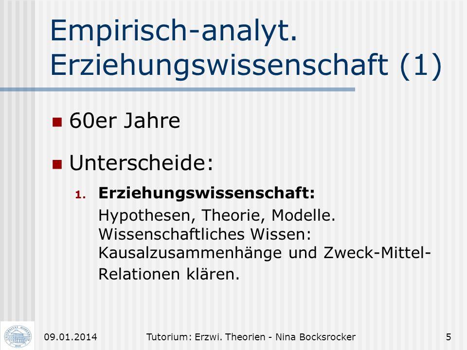 Empirisch-analyt. Erziehungswissenschaft (1)
