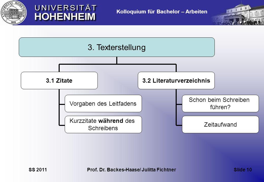 3.2 Literaturverzeichnis Prof. Dr. Backes-Haase/ Julitta Fichtner
