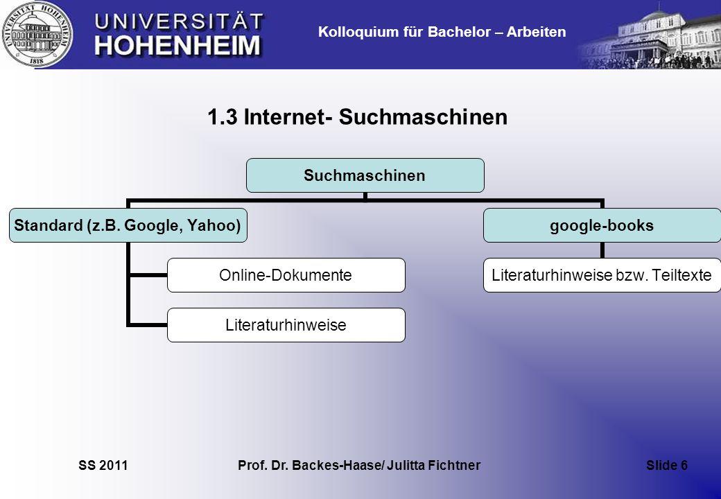 1.3 Internet- Suchmaschinen