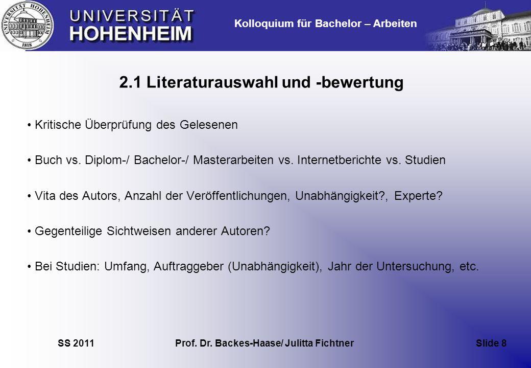 2.1 Literaturauswahl und -bewertung