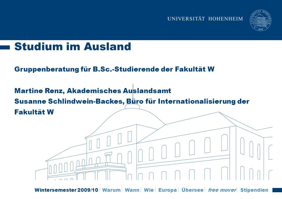 Studium im Ausland Gruppenberatung für B. Sc