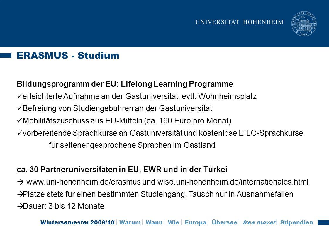 ERASMUS - Studium Bildungsprogramm der EU: Lifelong Learning Programme