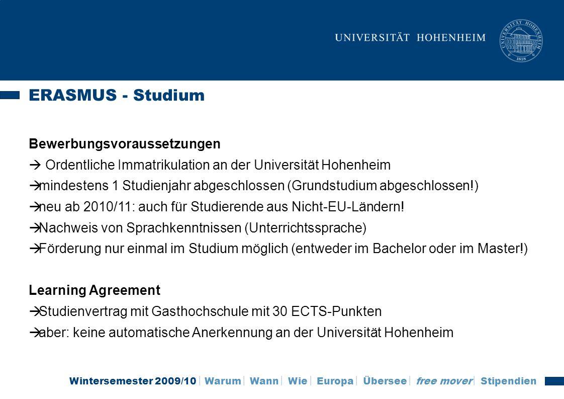 ERASMUS - Studium Bewerbungsvoraussetzungen