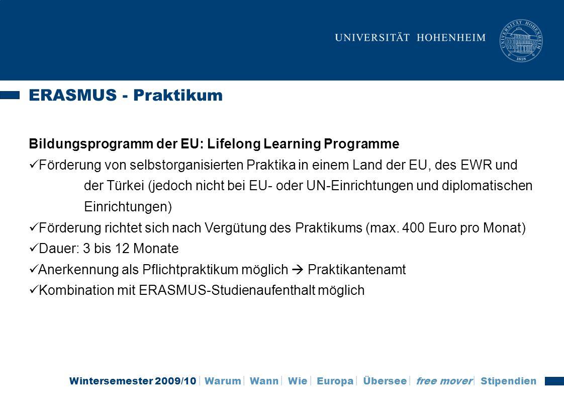 ERASMUS - Praktikum Bildungsprogramm der EU: Lifelong Learning Programme.