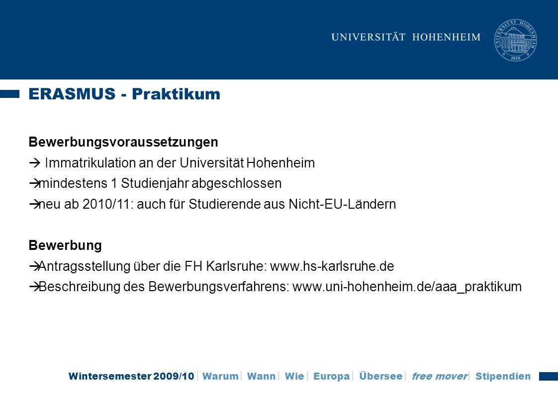 ERASMUS - Praktikum Bewerbungsvoraussetzungen