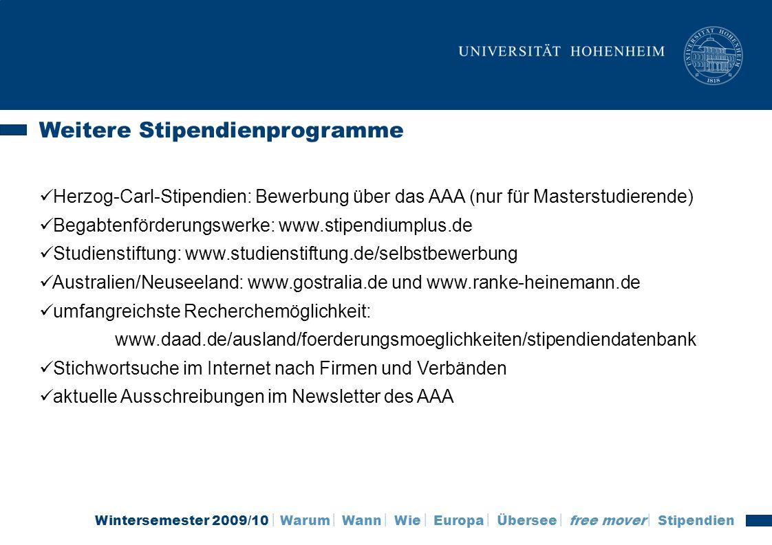 Weitere Stipendienprogramme
