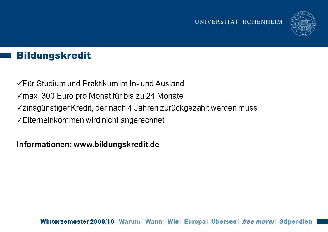 Bildungskredit Für Studium und Praktikum im In- und Ausland