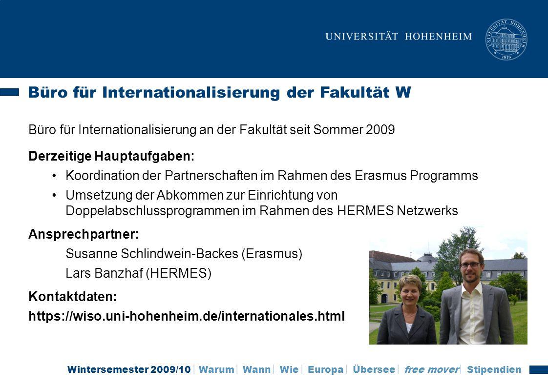 Büro für Internationalisierung der Fakultät W