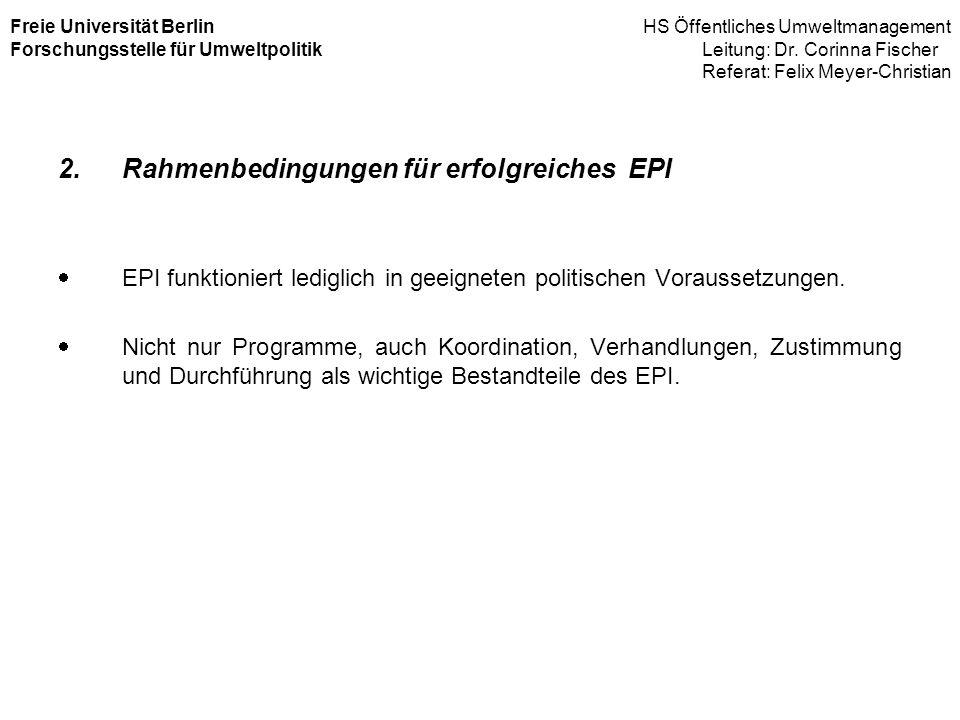 Rahmenbedingungen für erfolgreiches EPI
